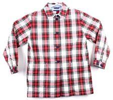 Tommy Hilfiger Womens Medium Button Up Rain Coat Jacket Plaid Red New Rare