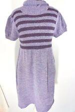 Sweater Project Women's Purple W/ Stripe Knit Cowl Neck Sweater Dress L (10-12)