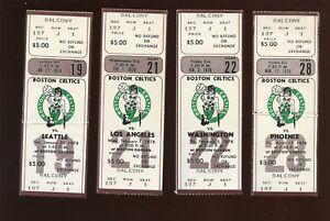 1977-78 NBA Basketball Boston Celtics Full Tickets 4 Different