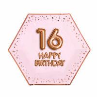 "8 x ROSE GOLD 9"" PLATES 16 HAPPY BIRTHDAY GLITZ & GLAM 16th PARTY PINK HEXAGON"