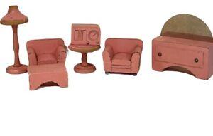 Lot of Vintage Wood Miniature Dollhouse Furniture Pink Radio Living Room Set