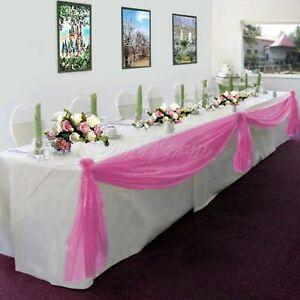 Elegant Wedding Table Valance Chair Decor Sheer SCAR Fabric Party Decoration 216