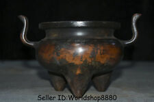 "7.2"" Xuan Marked Antique China Ming Purple Bronze Dynasty Incense Burner Censer"