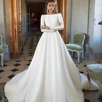 White/Ivory Wedding Dress A Line Satin Long Sleeve Backless Bridal Gowns Custom