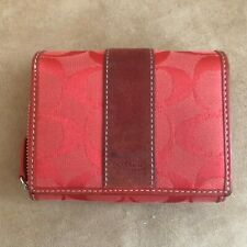 Coach wallet Signature Logo trifold canvas suede square womens red