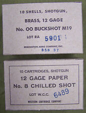 12 GAGE SHOTGUN  WW2 NEW REPLICA 10 ROUND AMMO BOXES - M19 & #8CS LABELS (2 PCS)