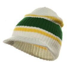 White Green Yellow Striped Campus Visor Jeep Skull Knit Winter Beanie Cap Hat