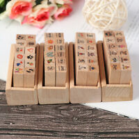 12pcs/set Retro Cartoon Stamp DIY Happy Time Style Diary Wooden Rubber Stamp