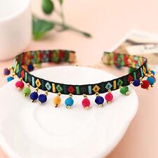 NEW Women Multicolour Tassel Bead Choker Necklace UK