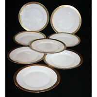 WW2 ERA C.1940, HUTSCHENREUTHER SET OF 6 BREAD AND BUTTER PLATES GOLD BAND