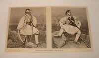 1887 magazine engraving ~ Greece GREEK PROVINCIAL TYPES