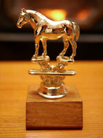 Vintage Brass Toned Metal & Solid Oak Wood Horse Equestrian Trophy 4.75""
