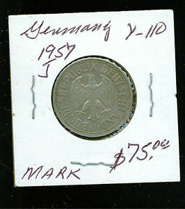 1957 J West Germany 1 Mark Coin Y 110