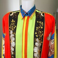 1993 vintage GIANNI VERSACE silk shirt Naples print size 50 Miami collection