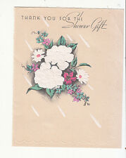 thank You for the Shower Gift Posy of Flowers Rain Vintage Greeting Card c 1940s