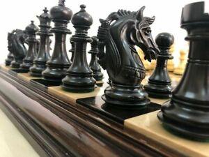 "4.5"" Ebony Wood Staunton Chess Pieces Set Alexander Series 4Queens & Weighted"