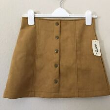 Forever 21 Small Skirt Faux Suede Snap Button Mustard Mini Short New