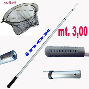 guadino pesca trota lago telescopico manico metri 3,00 testa rete filettata