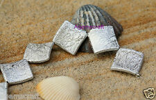 Silver foiled textured 22mm diagonal square beads Art Beading Design New