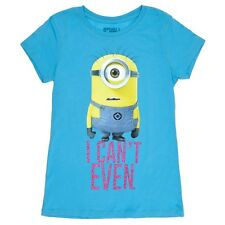 "Despicable Me Minion ""Can't Even"" Girl Blue Short Sleeve Tee T-Shirt Top L 10 12"
