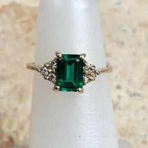 10 KT Yellow Gold Diamond & Green Emerald Cut emerald Ring Vintage Custom