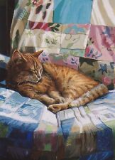 Sleeping GInger Cat Curled Up Greetings Card From Painting By Celia Pike 035