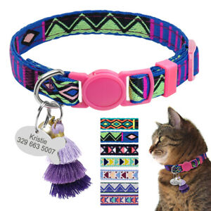 Embroidery Personalized Cat Collar ID Name Tag Quick Release Safety Buckle &Bell