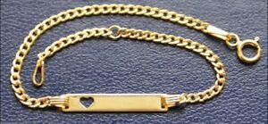 Gold 585 Goldarmband Kinder Baby Panzer Armband 14 Kt Panzerarmband & edles Etui