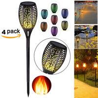 4pcs RGB LED Waterproof Flickering Flame Solar Torch Light Garden Lamp Outdoor