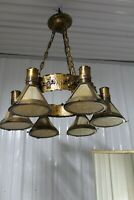 Heavy Large Arts & Crafts Hanging Light Fixture Slag Glass Shade Copper Hammered