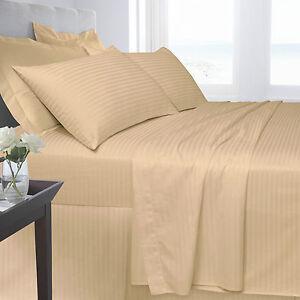 Latte Bedding 250 TC 100% Satin Stripe Fitted Flat Duvet Quilt Cover Pillow Case