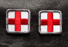 MEDIC CROSS EMT EMS RED CROSS EMBROIDERED 2 PC FIRST AID HOOK PATCH