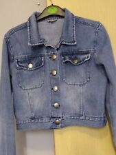 Golddigga Denim Cropped Jean Jacket Size 10 Ladies Womens Crop Jacket