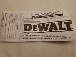 Dewalt Instruction Manual For DCD771 A7