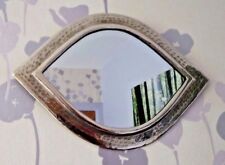 Hand Crafted*  MOROCCAN BEATEN METAL SILVER COLOUR  EYE SHAPED MIRROR*