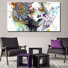 Huge Modern abstract wall art girl with flowers oil painting Printed on canvas