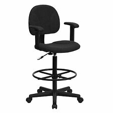 Black Patterned Fabric Ergonomic Drafting Chair with Height Adjustable Arms New