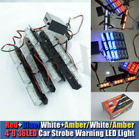 4x9 LED Car Flashing Grill Strobe Light Amber Red White and Blue 3 Flashing Mode