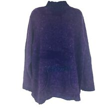 Forenza Mohair Blend Tunic Sweater Large Hand Pouch Purple Blue Turtleneck