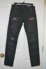 $348 Diesel Thommer Slim Skinny Black Coated Jeans 084XX Made In ITALY W28 L32
