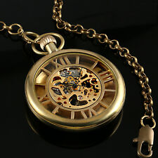 Hand-winding Open Face Golden Mechanical Pocket Watch Mens Skeleton Steampunk