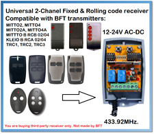 BFT Compatible Universal 2-Channel receiver 12-24V AC/DC 433.92MHz.