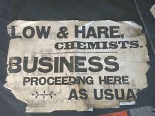 Original 1901 old antique letterpress poster for Low and Hare Chemist. Hexham