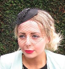 Black Beaded Birdcage Veil Hat Headpiece Fascinator Statement Ascot Races 1600
