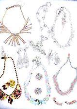 14 PC Vintage Signed  Jewelry Lot Eisenberg Hattie Carnegie Rhinestones Sets