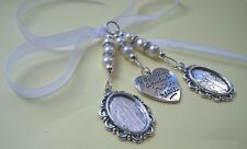 Stunning Ivory Bridal Bouquet Wedding Memory Charm, 2 Oval Cameo Photo Frame