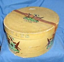 #1229 - Vintage Oval Knox Hat Box With Leather Closure Strap - Eagle Design