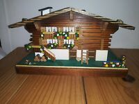 VINTAGE WOODEN SWISS MUSIC BOX EDELWEISS HOUSE CABIN MAPSA WOOD TESTED