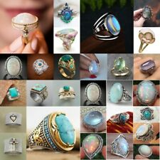 925 Silver Ring Woman Fire Opal Moon Stone Turquoise Wedding Engagement Size5-11