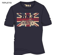 Official T Shirt BSA British Motorbike Blue UNION Jack Vintage All Sizes